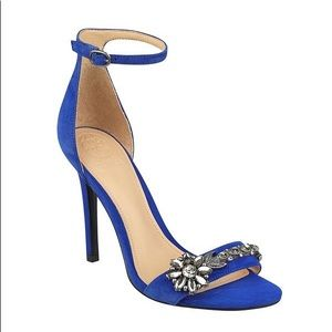 New Guess Blue Suede Partyer Heels Stilettos 9